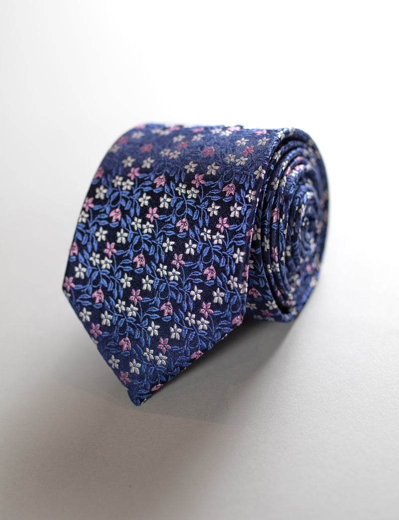 Floral Tie & Frenchie Pocket Square Set