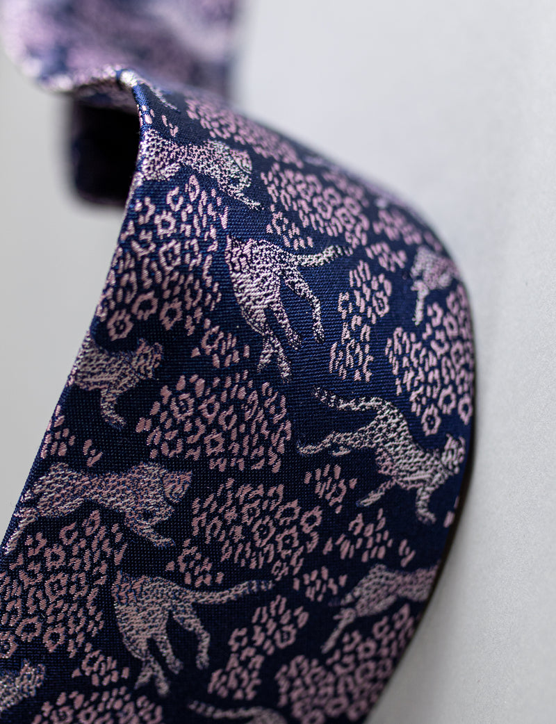 Leopard Tie & Spot Pocket Square Set