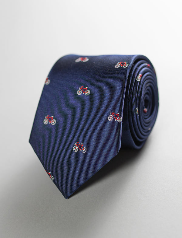 Bicycle Tie & Botanical Pocket Square Set