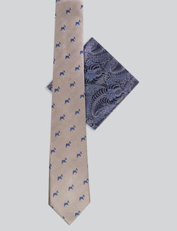 Frenchie Tie & Paisley Pocket Square Set