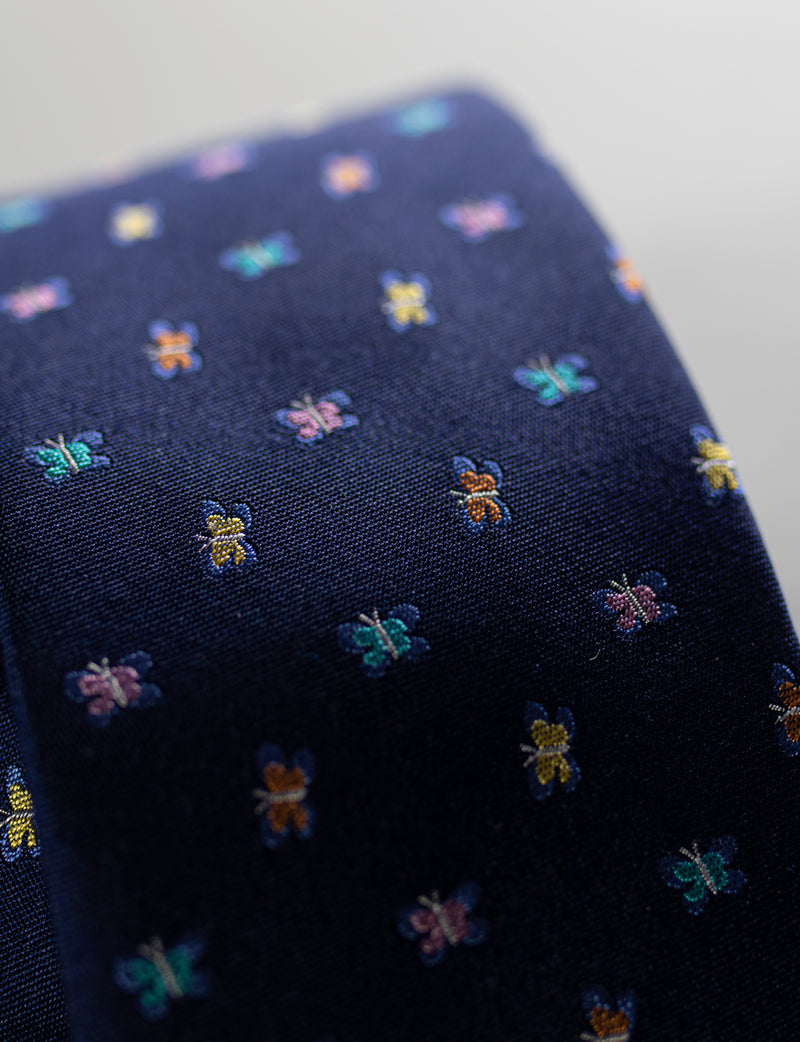 Butterfly Tie & Floral Pocket Square Set
