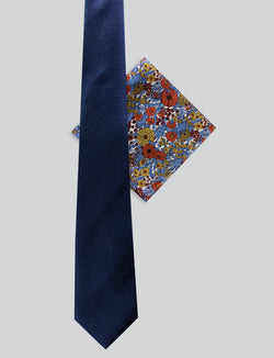 Textured Tie & Retro Floral Pocket Square Set