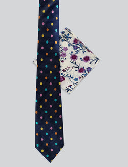Multi Colour Spot Tie & Pink Pocket Square Set