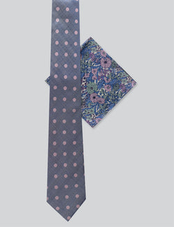 Textured Spot Tie & Retro Floral Pocket Square Set