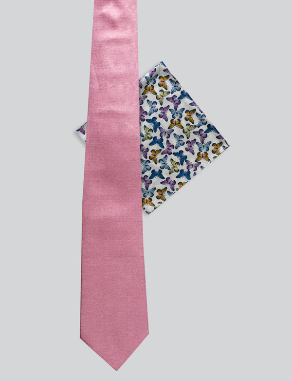 Textured Pink Tie & Butterfly Pocket Square Set