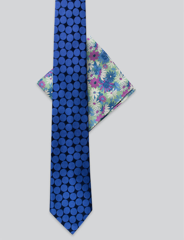 Blue Spot Tie & Flower Pocket Square Set