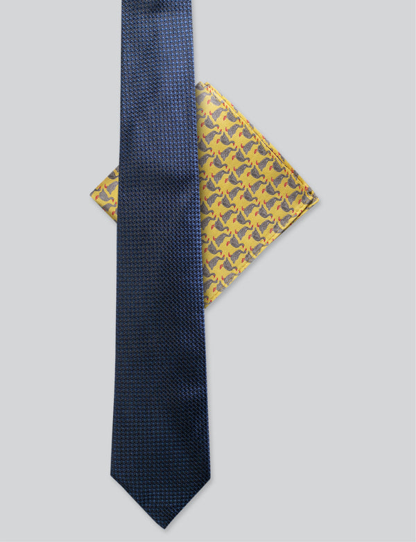 Navy Tie & Goose Pocket Square Set