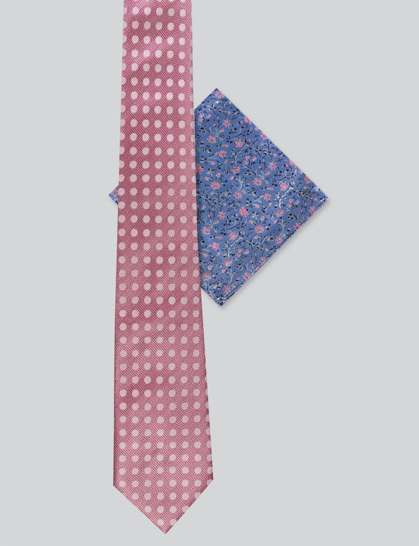 Pink Spotted Tie & Small Floral Pocket Square Set