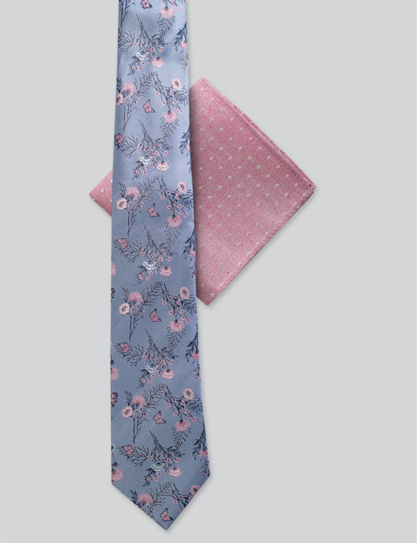 Floral Tie & Pink Spot Pocket Square Set
