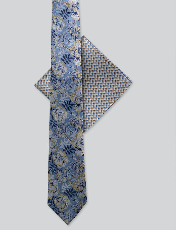 Floral Tie & Herringbone Pocket Square Set