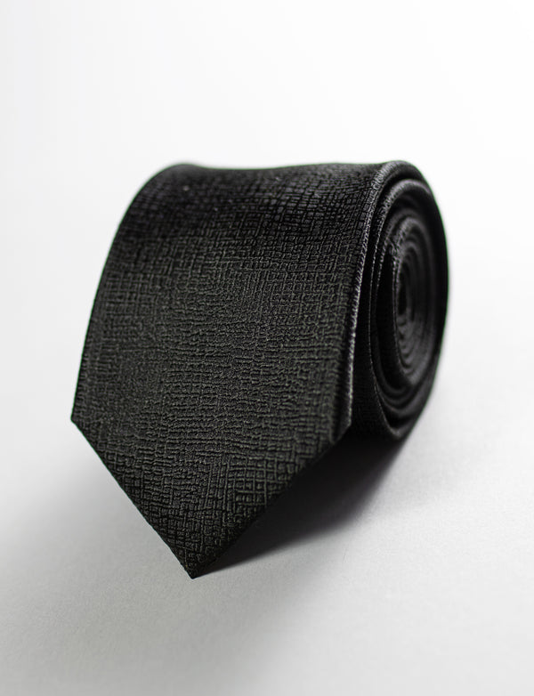 Textured Tie & Black/White Floral Pocket Square Set