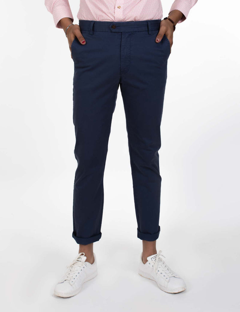Navy Printed Chino Pants
