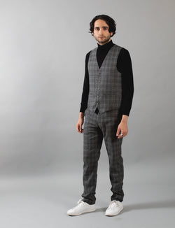 Charcoal Multi Coloured Check Waistcoat
