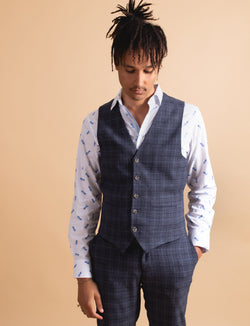Blue Multi Coloured Check Waistcoat