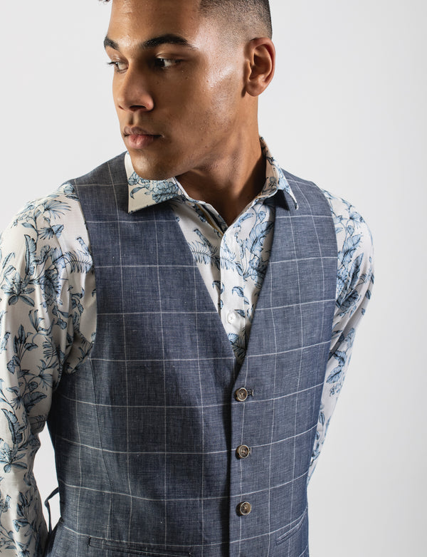 Narrow Windowpane Check Waistcoat