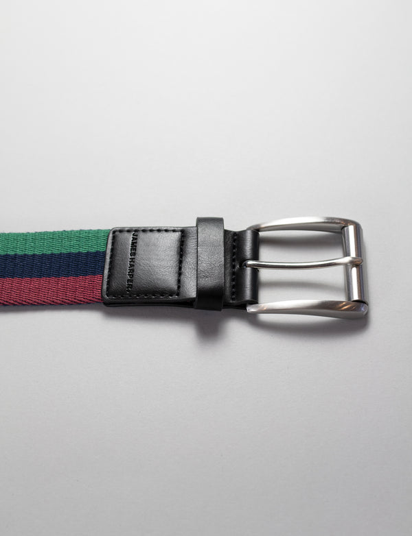 Burgundy Striped Web Belt