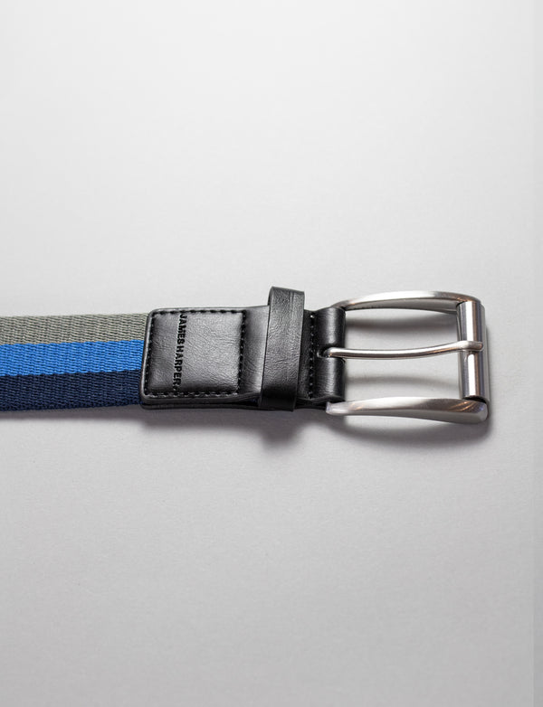 Navy Striped Web Belt
