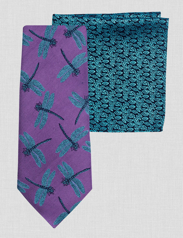 Purple Dragonfly Tie & Pocket Square Set