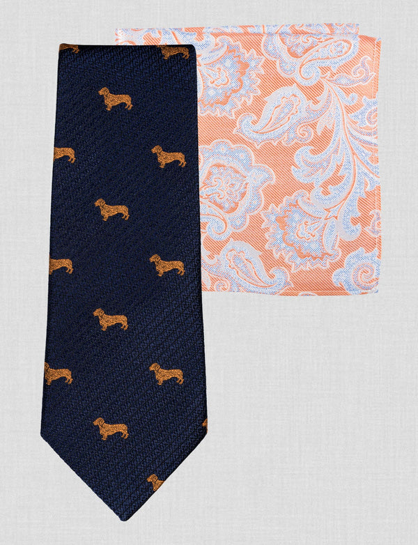 Sausage Dog Tie & Pocket Square Set