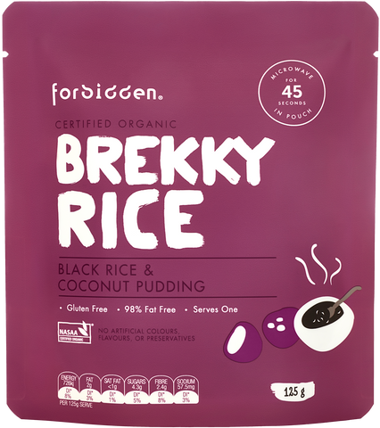 Forbidden Brekky Rice Black Rice & Coconut Organic Instant Rice Pudding 125g x 10