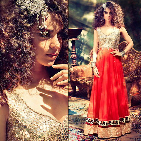 kangana ranaut red floor lenght anarkali gown