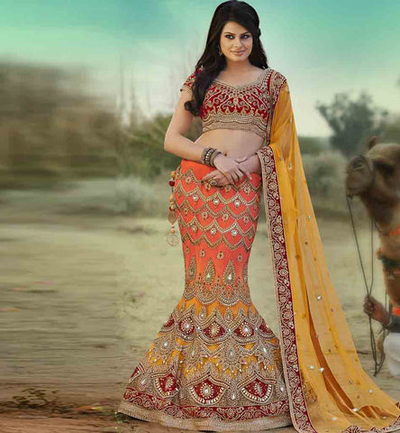 INDIAN BRIDAL WEAR LATEST DESIGNER FISH CUT HAND WORK LEHENGA CHOLI