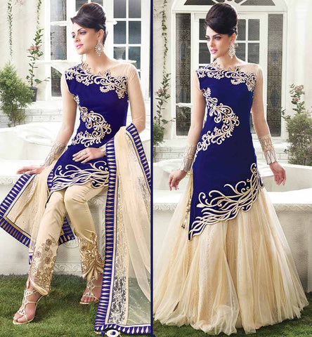 Blue zoya empress velvet women's dress - Lehenga choli and trouser type salwar.