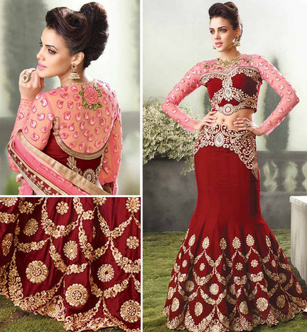 Fish cut wedding wear velvet lehenga choli.