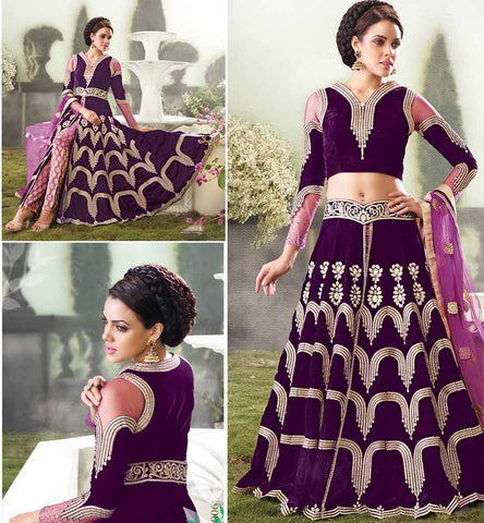 Superb velvet wedding wear lehenga choli from zoya empress 10006
