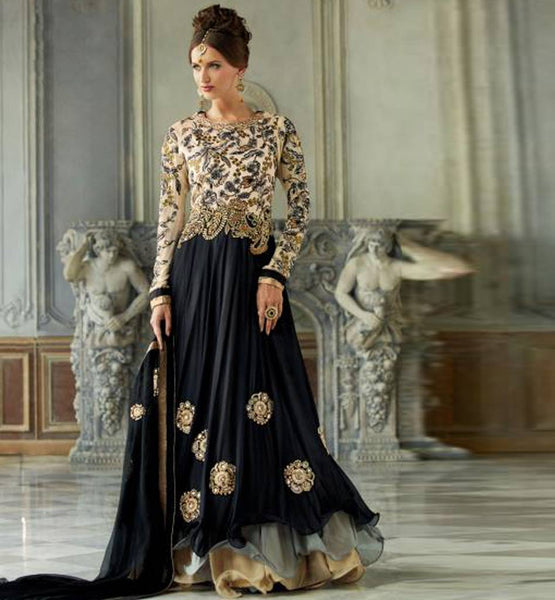 BLACK & CREAM HEAVY EMBROIDERY FLOOR LENGTH WEDDING WEAR KIMORA 1001 ANARKALI DRESS SHOP ONLINE