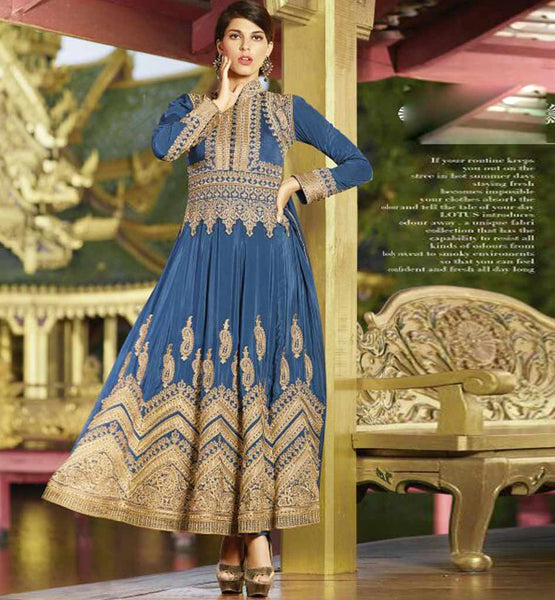 Blue Pure Crepe Anarkali from peecock collection.