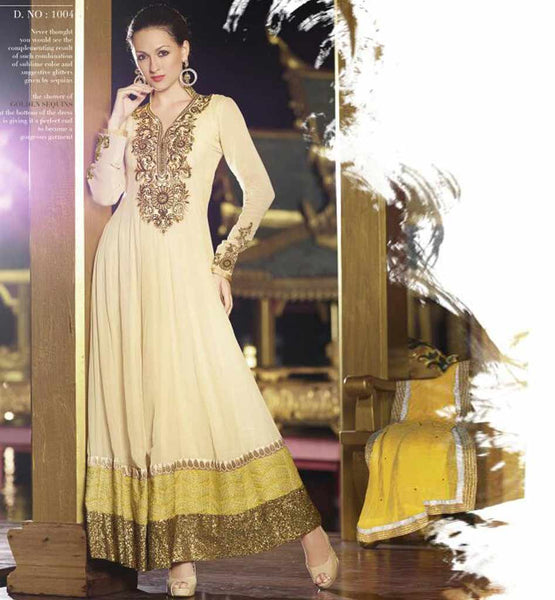 Pure Cream Anarkali Dress from peecock collection.