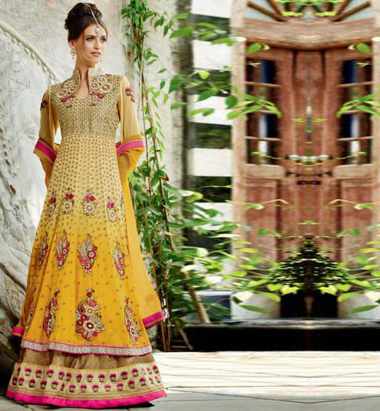 RAJWADI HEAVY EMBROIDERY YELLOW FLOOR LENGTH WEDDING WEAR KIMORA 1005 ANARKALI DRESS SHOP ONLINE