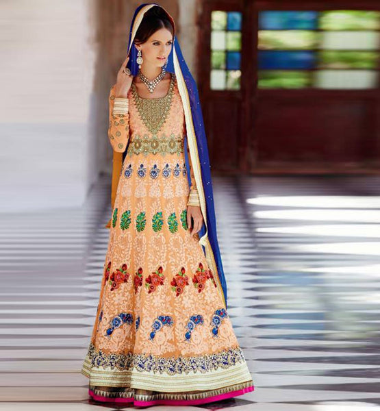 OUT-STANDING ORANGE EMBROIDERED FLOOR LENGTH WEDDING WEAR KIMORA 1007 ANARKALI DRESS BUY ONLINE