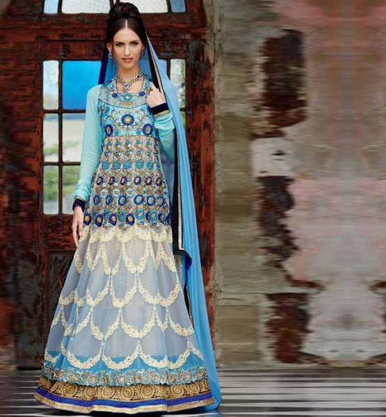 LATEST DESIGN SKY BLUE KIMORA 1008 FLOOR LENGTH WEDDING WEAR KIMORA 1001 ANARKALI DRESS SHOP ONLINE