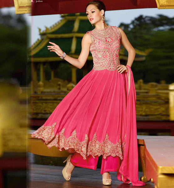 Pink Anarkali dress from peecock collection.