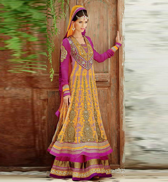 PINK FLOOR LENGTH WEDDING WEAR KIMORA 1009 ANARKALI DRESS SHOP ONLINE WITH YELLOW EMBROIDERY WORK.