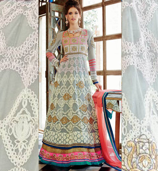 NEW LOOK STYLISHBAZAAR GREY DESIGNER RAJWADI KIMORA 1010 WEDDING WEAR ANARKALI DRESS SHOP ONLINE