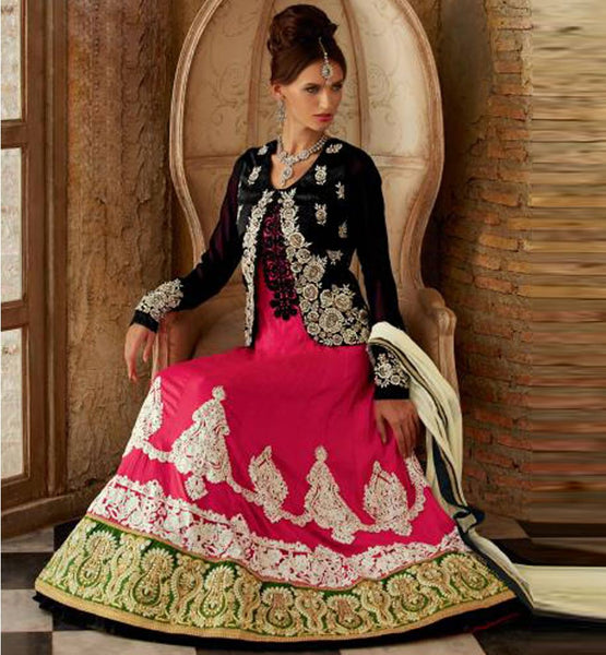 STYLISHBAZAAR PINK WEDDING WEAR KIMORA 1011 JACKET LOOK FLOOR LENGTH ANARKALI  DRESS