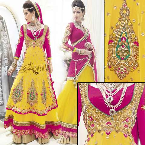 YELLOW BRIDAL WEAR 3PC LEHENGA CHOLI SUIT