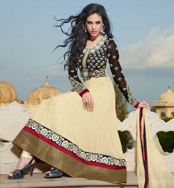 Buy this Cream Anarkali dress with free cash on delivery within India.