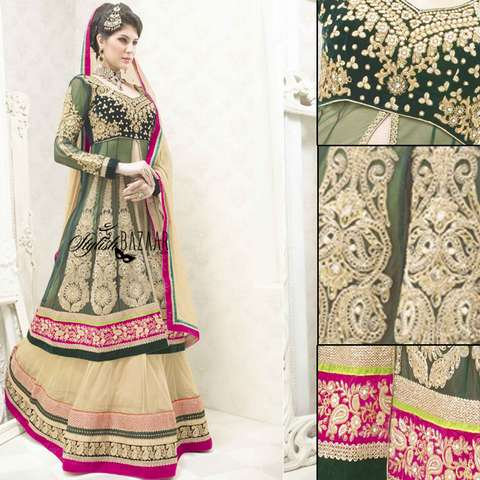 EXTRA-ORDINARY DESIGNER BRIDAL WEAR 3PC LEHENGA CHOLI SUIT