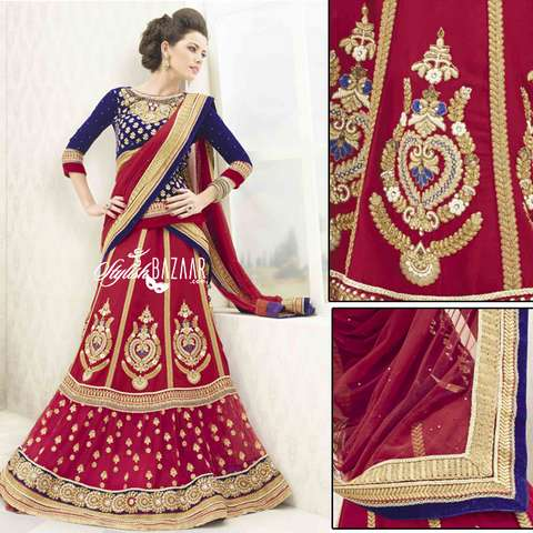 MAJESTIC MAROON DESIGNER BRIDAL WEAR 3PC LEHENGA SUIT