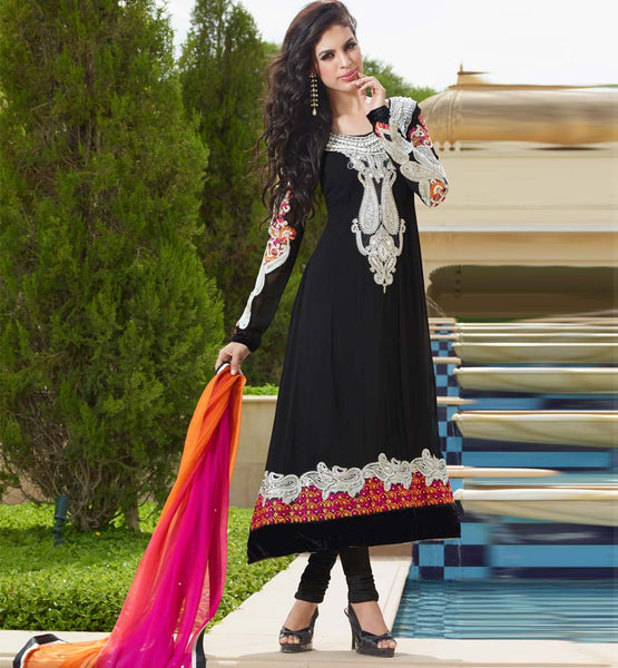 Shop online for this latest designer Black Handwork anarkali dress with free cash on deliery and shipping within India.