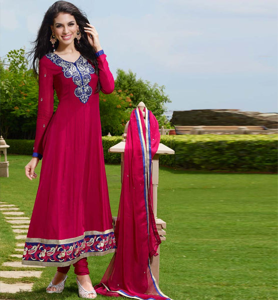 Online shopping for designer dark pink handwork anarkali dress with free shipping and cash on delivery within India.