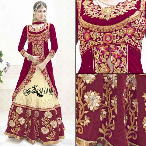 STRIKING DESIGNER 3PC BRIDAL WEAR LEHENGA CHOLI SUIT