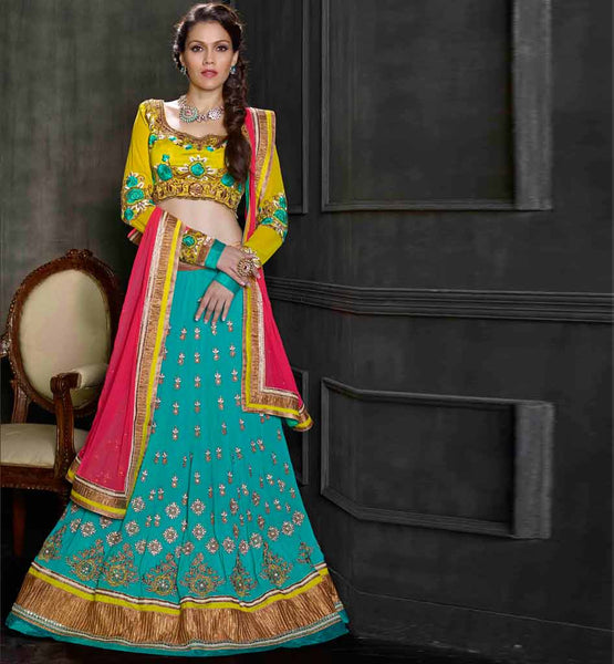 Eye catching 3pc firozi & green wedding reception wear lehenga choli.