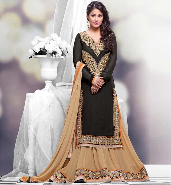 Hina Khan (Akshara) Black Lehengha Suit from StylishBazaar.