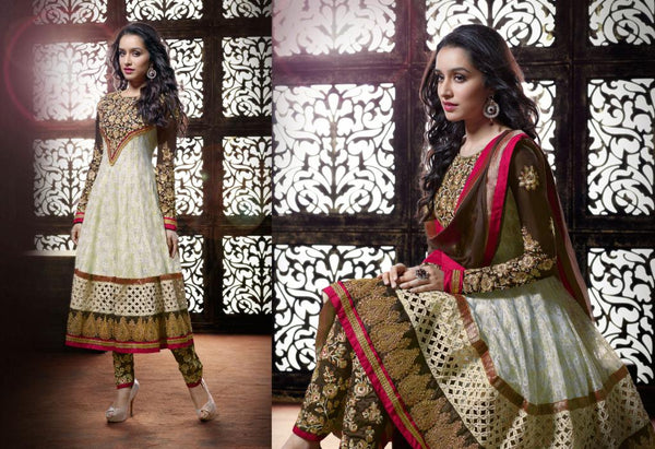 Shraddha Kapoor Cream Anarkali Dress with embroidered salwar