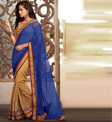 Blue and cream party wear georgette saree online shopping by stylishbazaar - Rate Rs. 3725.00 - Design No. RTKUB23111